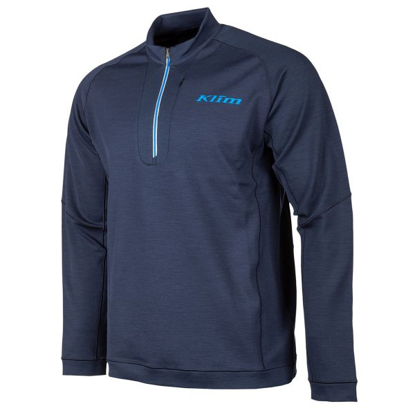 Underlayer Snow Klim Bluza Corp Mid Layer Teton Merino Wool 1/4 Zip Navy Blue 2021