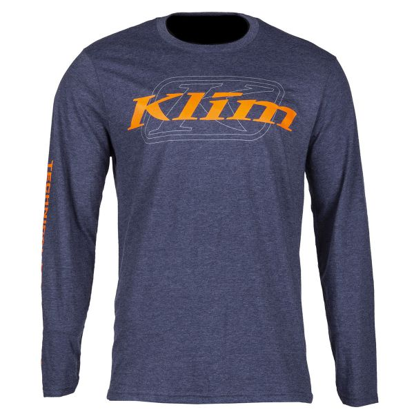 Tricouri/Camasi Casual Klim Bluza K Corp LS T Heathered Navy/Strike Orange 2020