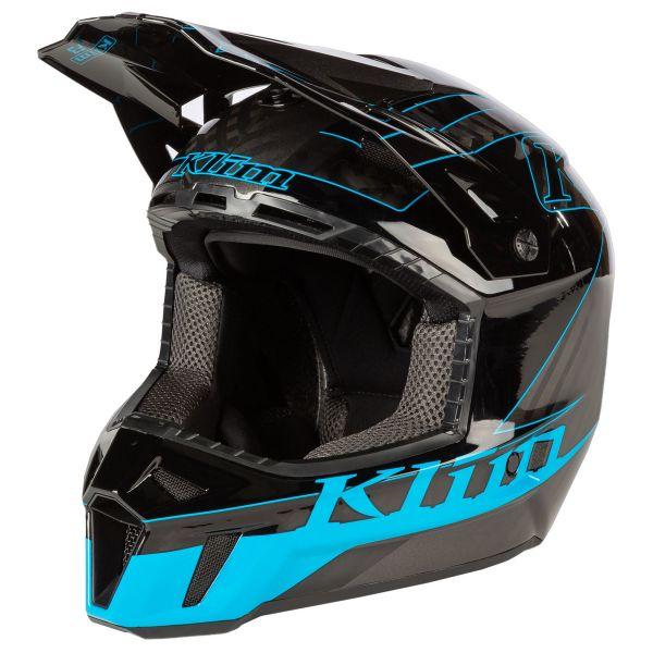Casti Snowmobil Klim Casca Snow F3 Carbon Helmet ECE Draft Vivid Blue 2021
