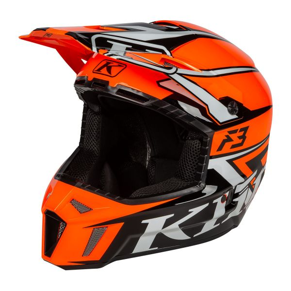 Casti Snowmobil Klim Casca Snow F3 Helmet ECE Stark Strike Orange 2021