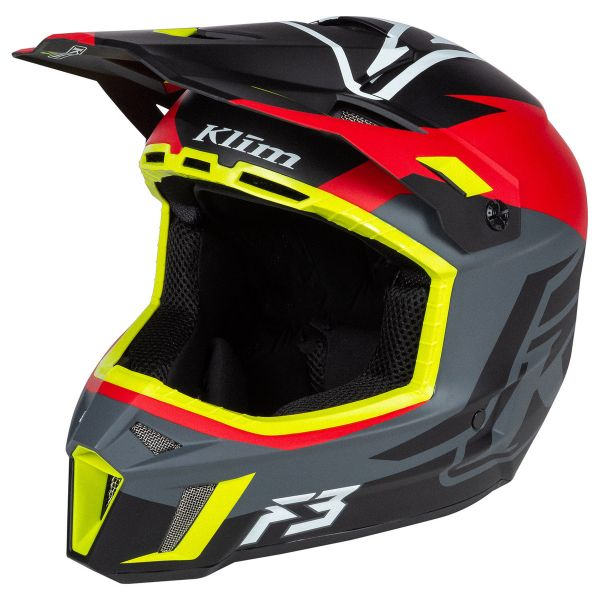 Casti Snowmobil Klim Casca Snow F3 Helmet ECE Tectonic High Risk Red 2021