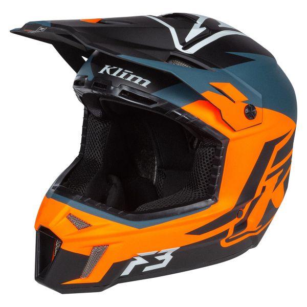 Casti Snowmobil Klim Casca Snow F3 Helmet ECE Tectonic Strike Orange 2021
