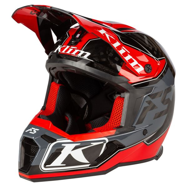 Casti Snowmobil Klim Casca Snow F5 Helmet ECE Shred High Risk Red 2021