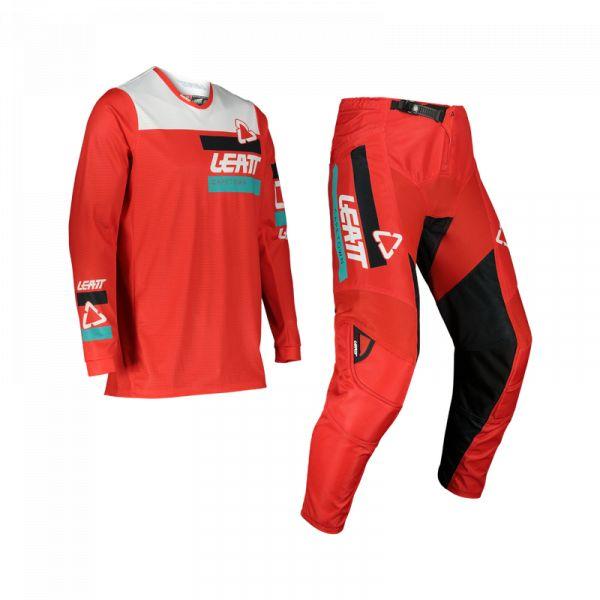 Combo MX Enduro Leatt Combo Pantaloni + Tricou Ride Moto 3.5 V22 Red 2022