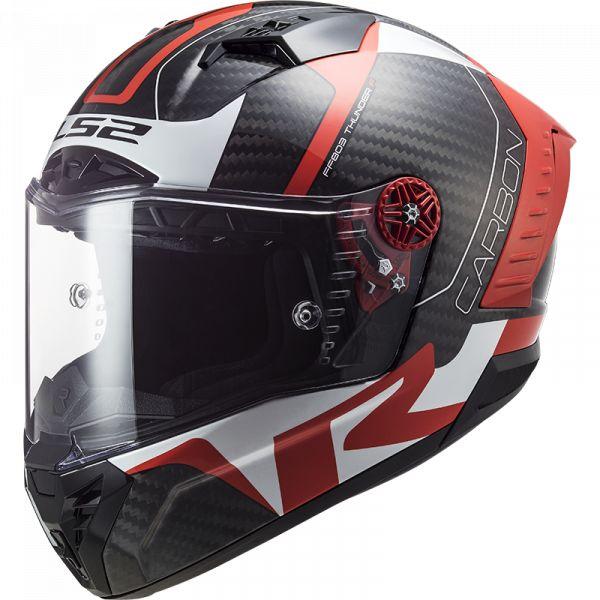 Casti Moto Integrale LS2 Casca Moto Full/Face FF805 Thunder C Racing1 Rosu Lucios Alb 2021