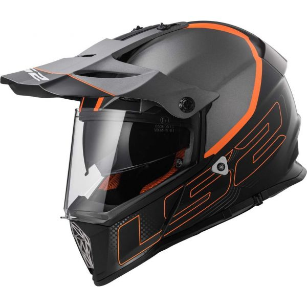 Casti ATV LS2 Casca ATV MX436 Pioneer Element Matt Black/Orange Titanium