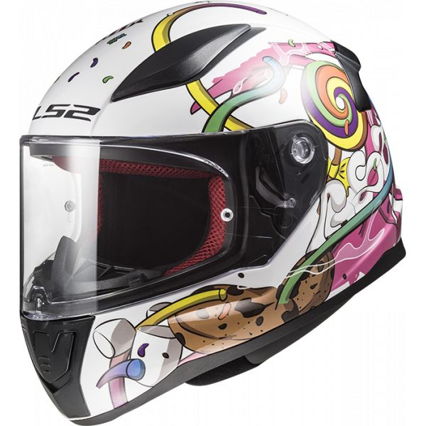 Casti Integrale Copii LS2 Casca Moto Full Face Copii FF353 Rapid Mini Crazy Alb Roz 2021