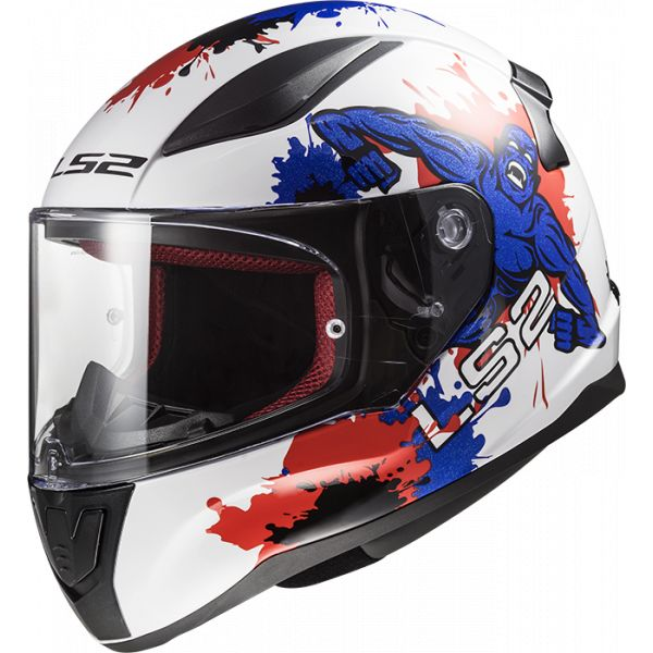 Casti Integrale Copii LS2 Casca Moto Full Face Copii FF353 Rapid Mini Monster Alb Albastru 2021