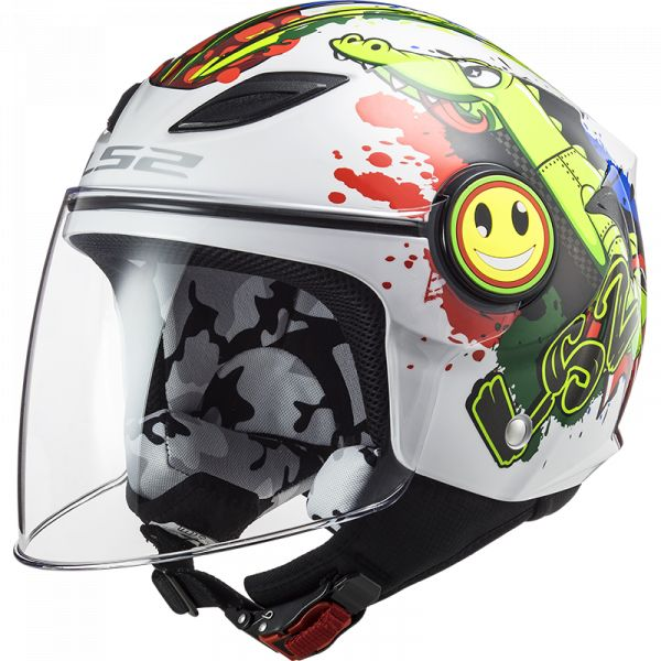 Casti Moto Jet (Open Face) LS2 Casca Moto Jet OF602 Funny Croco Gloss White 2021