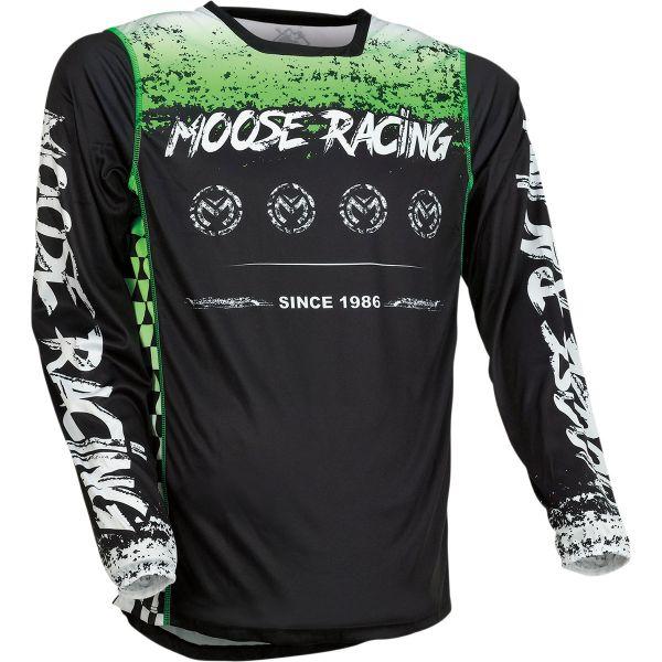 Tricouri MX-Enduro Moose Racing Tricou Moto MX M1 Black/Green 2022