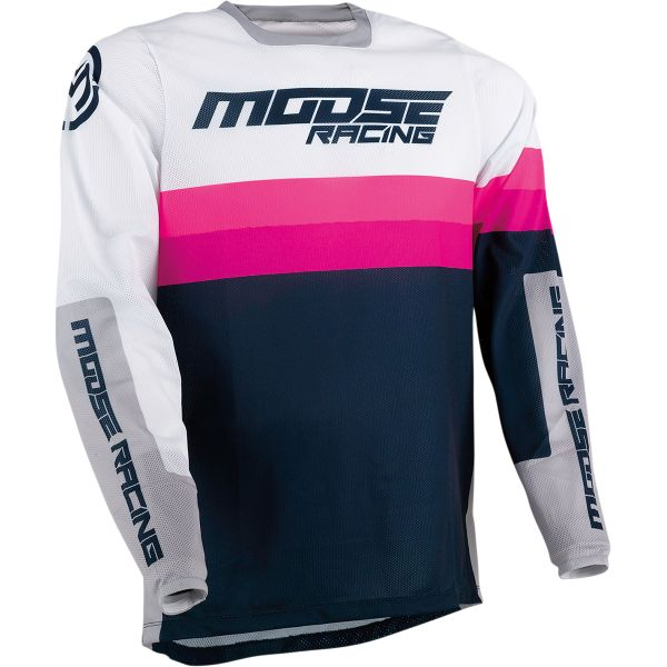 Tricouri MX-Enduro Moose Racing Tricou MX Sahara Bleumarin/Alb/Magenta 2021