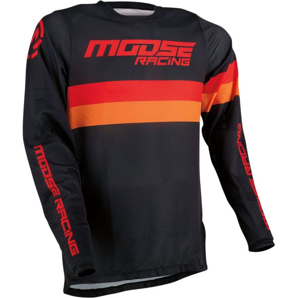 Tricouri MX-Enduro Moose Racing Tricou MX Sahara Negru/Portocaliu/Rosu 2021