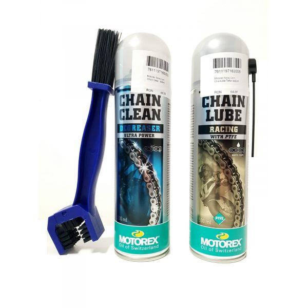 Spray de lant Moto24 Kit Curatare+Ungere Lant Motorex Racing PTFE