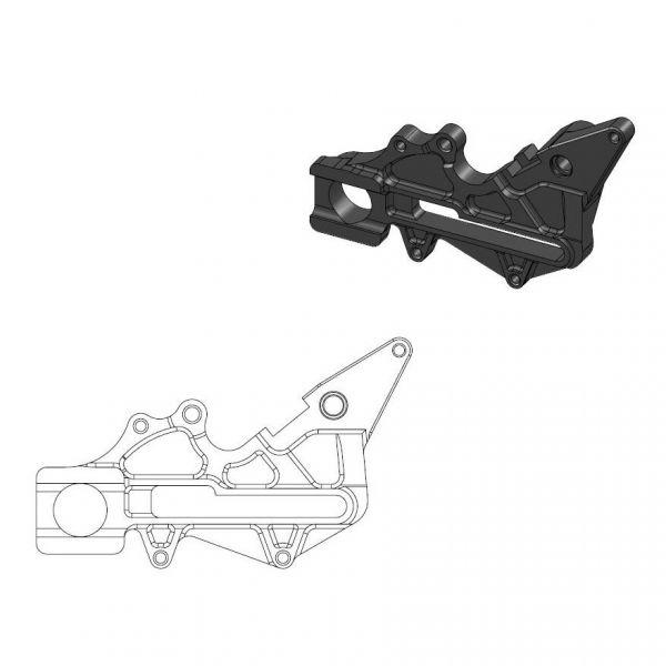 Kit Upgrade Frana Motomaster Adaptor Relocare Etrier Frana Oversize 220mm Negru - 211111