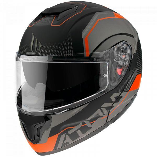 Casti Moto Flip-up (Modulabile) MT Helmets Casca Flip-Up Atom Quark A4 Portocaliu Mat 2020