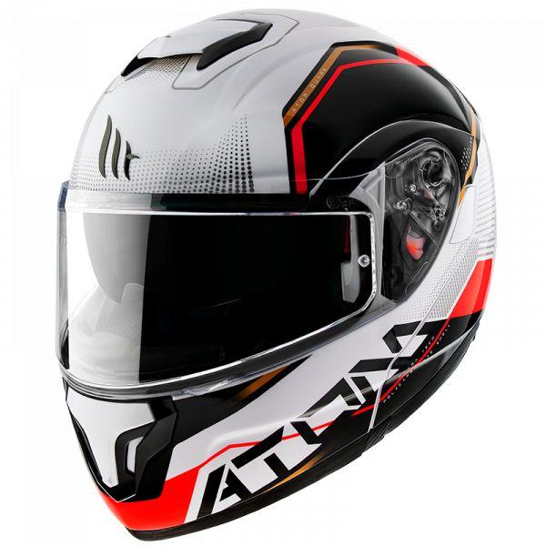 Casti Moto Flip-up (Modulabile) MT Helmets Casca Flip-Up Atom Quark B5 Rosu/Alb Lucios 2020