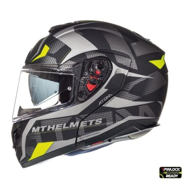 Casti Flip-up (Modulabile) MT Helmets Casca Flip-Up Atom SV Divergence A12 Black/Gray Mat