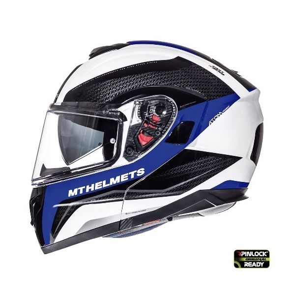 MT Helmets Casca Flip-Up Atom SV Tarmac White/Blue/Black Gloss