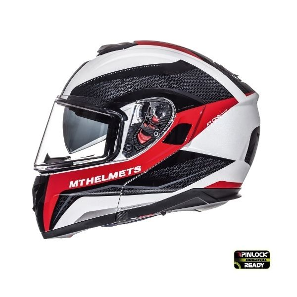 MT Helmets Casca Flip-Up Atom SV Tarmac White/Red/Black Gloss