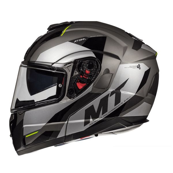 MT Helmets Casca Flip-Up Atom SV Transcend E2 Black/Gray/Yellow