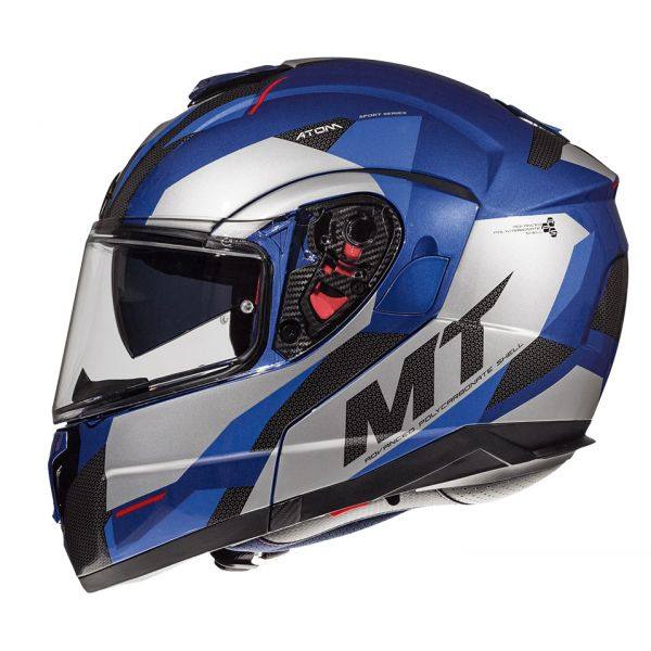 Casti Flip-up (Modulabile) MT Helmets Casca Flip-Up Atom SV Transcend E7 Blue/Gray Glossy