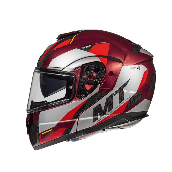 MT Helmets Casca Flip-Up Atom SV Transcend F5 Red/Gray Glossy