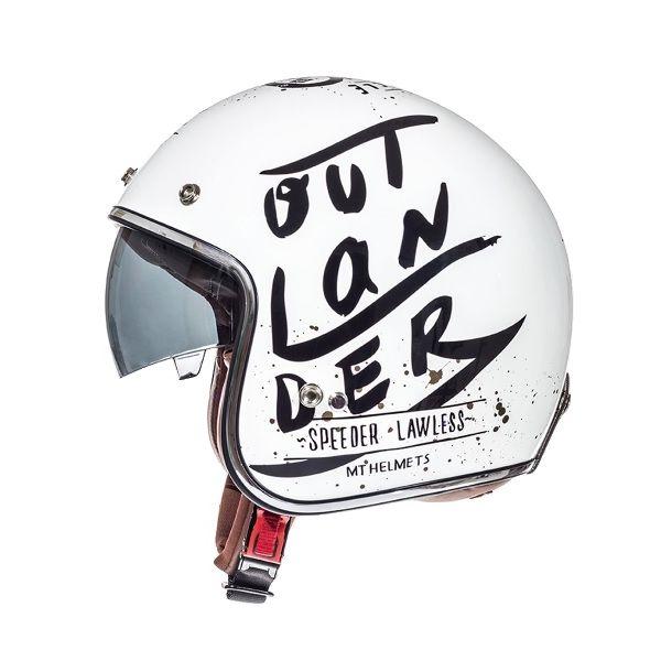 Casti Jet (Open Face) MT Helmets Casca Le Mans SV Outlander White/Black Gloss