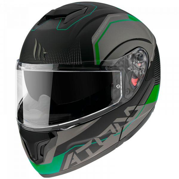 Casti Moto Flip-up (Modulabile) MT Helmets Casca Moto Flip-Up/Modulabila Atom SV Quark A6 Matt Fluor Green 2021