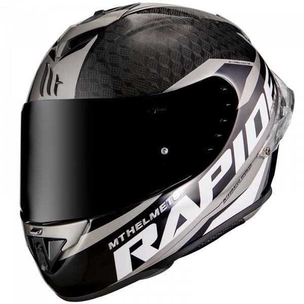 Casti Moto Integrale MT Helmets Casca Moto Full-Face Rapide Pro Carbon C2 Gloss Gray 2021