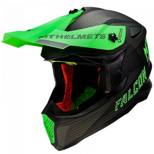 Casti MX-Enduro MT Helmets Casca Moto MX Falcon System D6 Matt Fluor Green 2021