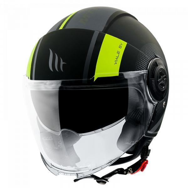 Casti Moto Jet (Open Face) MT Helmets Casca Moto Open Face/Jet Viale SV Phantom C3 Matt Fluor Yellow 2021