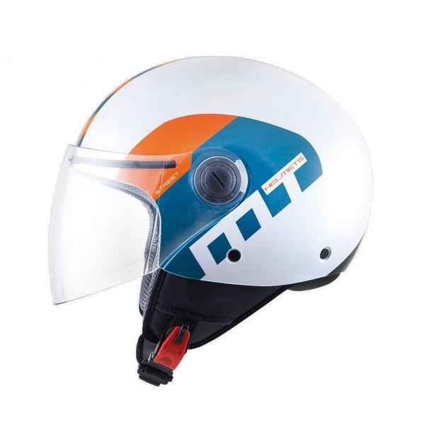 Casti Jet (Open Face) MT Helmets Casca Street Metro White/Blue/Orange Gloss