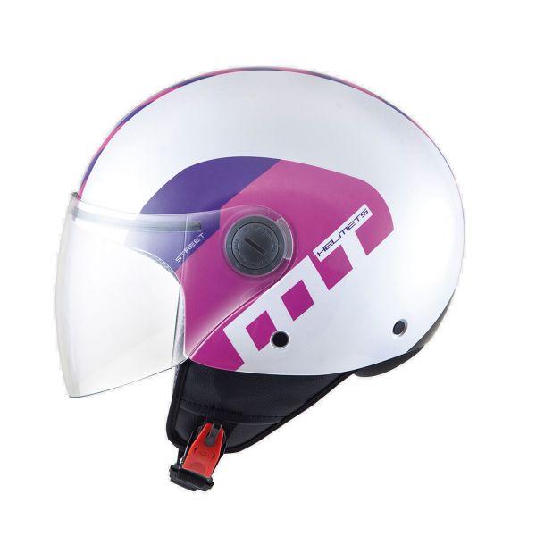 Casti Jet (Open Face) MT Helmets Casca Street Metro White/Fuchsia/Purple Gloss