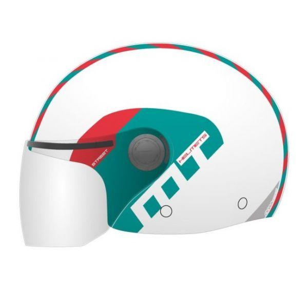 Casti Jet (Open Face) MT Helmets Casca Street Metro White/Green/Red Gloss