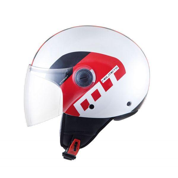 Casti Jet (Open Face) MT Helmets Casca Street Metro White/Red/Black Gloss