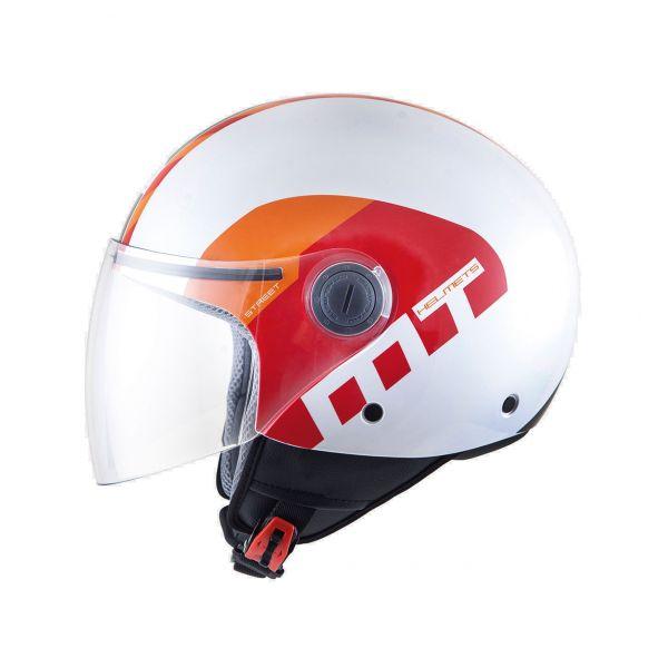 Casti Jet (Open Face) MT Helmets Casca Street Metro White/Red/Orange Gloss