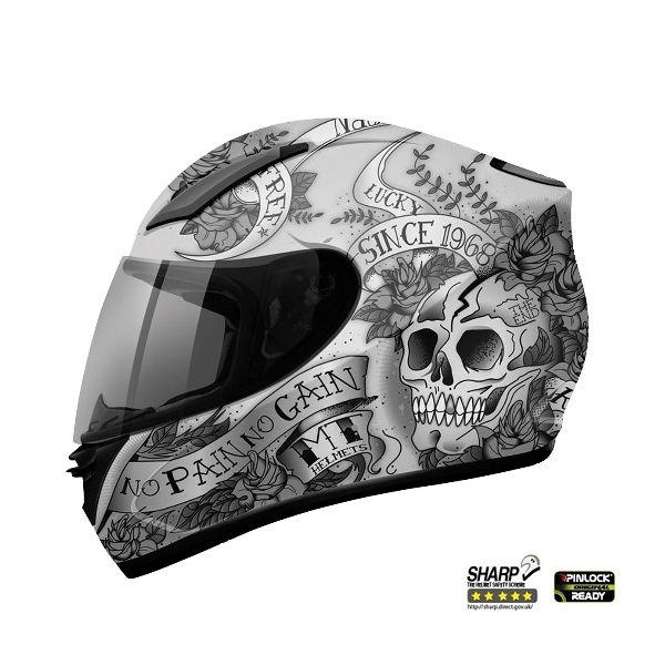 Casti Integrale MT Helmets REVENGE SKULL & ROSE GRI/NEGRU MAT
