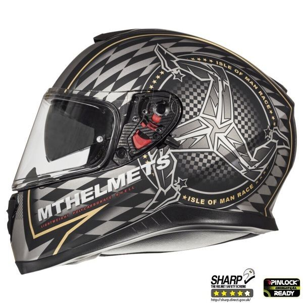 MT Helmets Casca Moto Full-Face Thunder 3 SV Isle Of Man Matt Black/Gold 2021