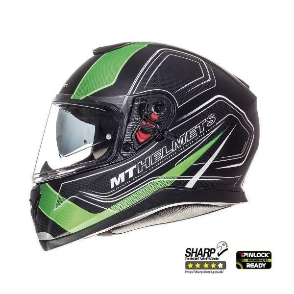 MT Helmets Thunder 3 SV Trace Black/Green Mat Helmet