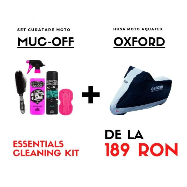 Moto24 Essentials - Husa OXFORD Moto Ploaie + Set Curatare MUC-OFF