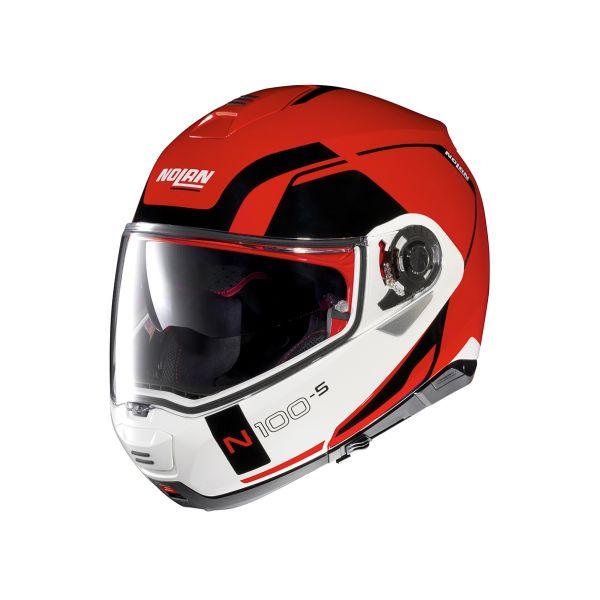 Casti Moto Flip-up (Modulabile) Nolan Casca Flip-Up N 100-5 Consistency N-Com Corsa Rosu 2020