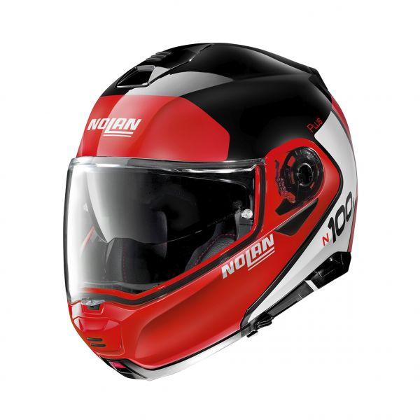 Casti Moto Flip-up (Modulabile) Nolan Casca Flip-Up N 100-5 Plus Distinctive N-Com Rosu Lucios 2020