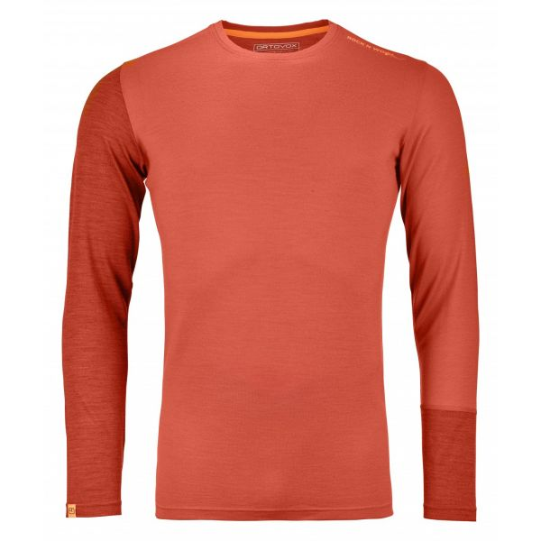 Underlayer Snow Ortovox Bluza Merino 185 Rock n Wool Long Sleeve Crazy Orange