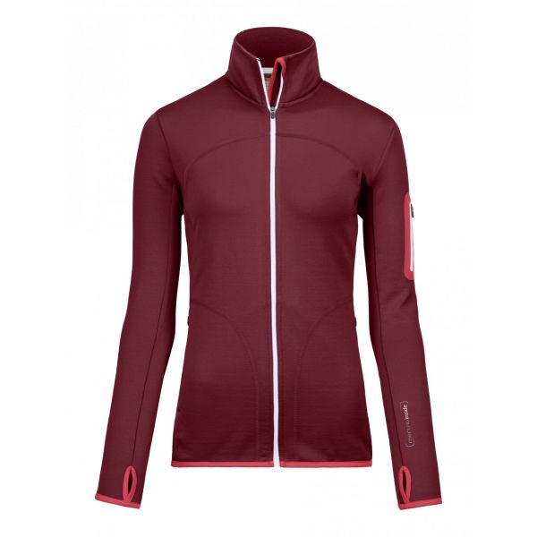 Underlayer Snow Ortovox Bluza Merino Fleece Jacket Hot Coral Dama