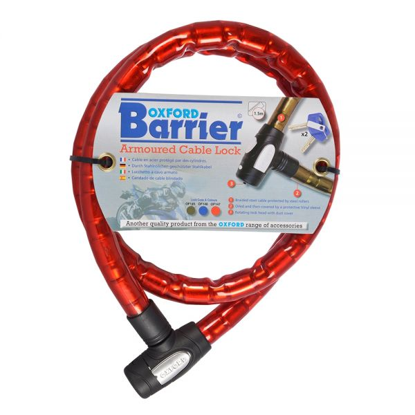 Antifurt Moto Oxford BARRIER AMOURED CABLE LOCK - RED