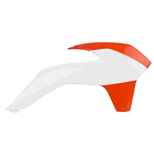 Plastice MX-Enduro Polisport Laterale Radiator KTM EXC 2014-2016 Orange/White