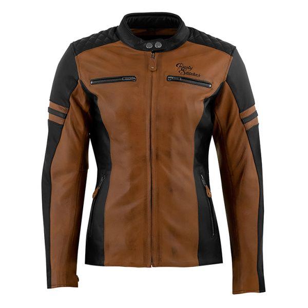 Geci Moto Piele - Dama Rusty Stitches Geaca Moto Piele Dama Joyce Brown/Black 2021
