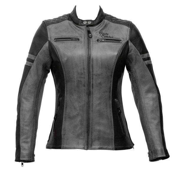 Geci Moto Piele - Dama Rusty Stitches Geaca Moto Piele Dama Joyce Black/Grey 2021