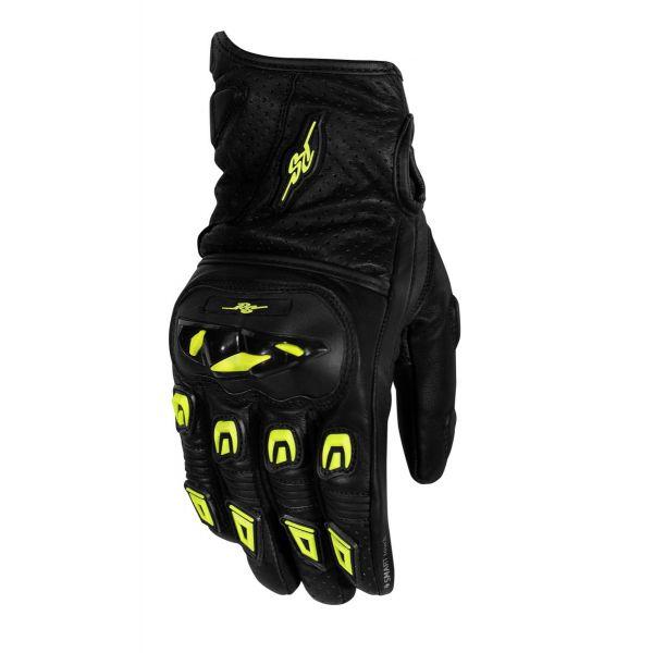 Manusi Moto Sport si Piele Rusty Stitches Manusi Moto Piele Quinn Black/Fluo Yellow 2021