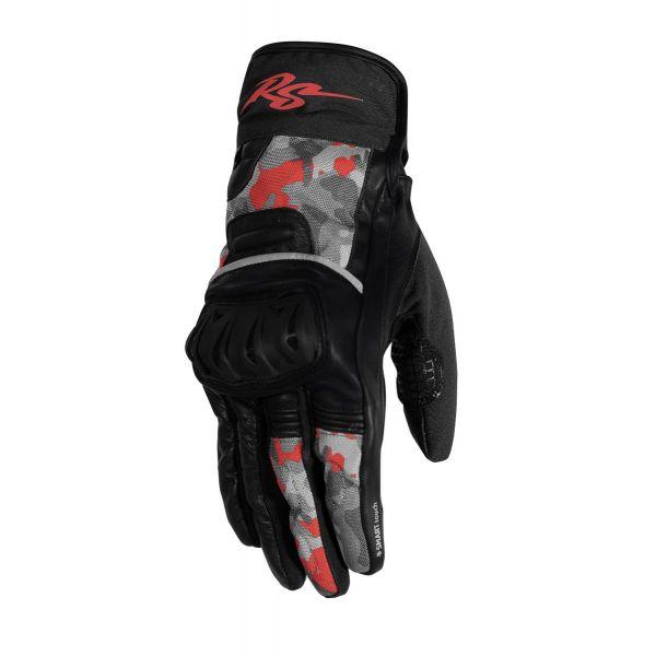 Manusi Moto Sport si Piele Rusty Stitches Manusi Moto Piele/Textile Randy Black/Camo Red 2021